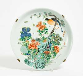 Large plate with bird of Paradise and blooming peonies