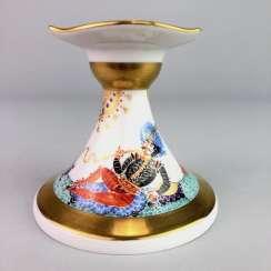 Candlesticks: Meissen porcelain 1001 Arabian nights, gold plated, gold ornaments, Prof. Heinz Werner, very good.