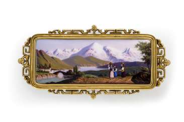 Beautiful Swiss Enamel Brooch. Geneva to 1840/45, painting by Jacques Aimé Glardon