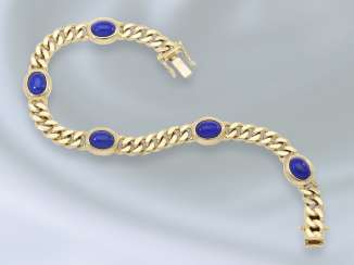 Bracelet: decorative and massive vintage curb bracelet with lapis lazuli trim, crafted from 14K Gold