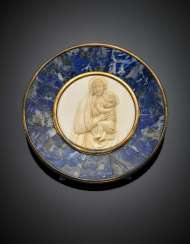 CHIAPPE | Madonna and Child bone relief with lapis and gilt silver frame