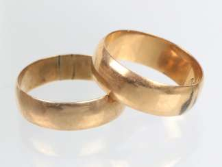 2 wedding rings - yellow gold 560/585