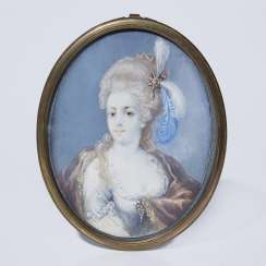 Portrait miniature: lady with headdress