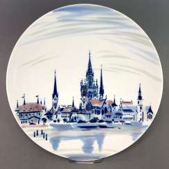 Plate / wall plate: Meissen porcelain, a view of the City of Konstanz. The Original solution of painting of Prof. Heinz Werner, very