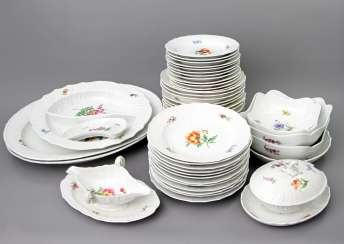 MEISSEN dining service for 12 people German flower colorful', Knauf swords & Pfeiffer time