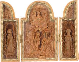 DATED TRIPTYCH WITH THE APPEARANCE OF THE MOTHER OF GOD IN FRONT OF THE HOLY SERGEY OF RADONESH Russia