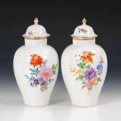 Pair of cover vases with flower painting, MEI