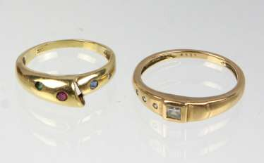 2 rings with trim - yellow gold 333