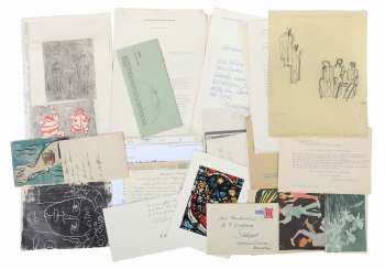 Artists ' correspondence hand-/machine-written cards and letters, among other things, by strich-Chapell
