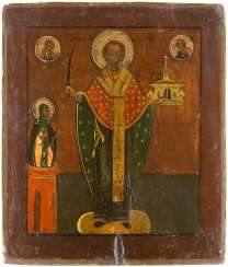 ICON WITH SAINT NICHOLAS OF MOZAISK FLANKED BY A PILLAR OF HOLY