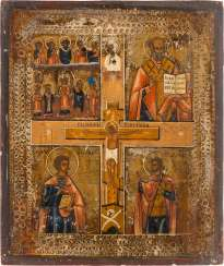 FOUR FIELDS ICON WITH THE CRUCIFIXION