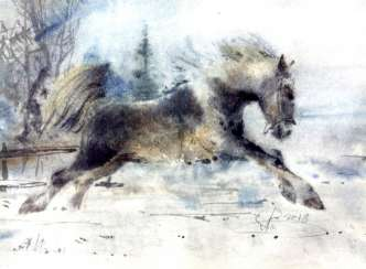 Horse watercolor-on-wet