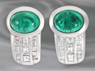 Earrings: very beautiful and very valuable emerald earrings with diamonds, approx. 3,03 ct, 18K white gold