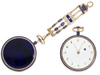 Pocket watch: very large Gold/enamel Spindeluhr with beaded trim and with the original Gold/enamel Chatelaine, probably Compagnie Duchene CA. 1790