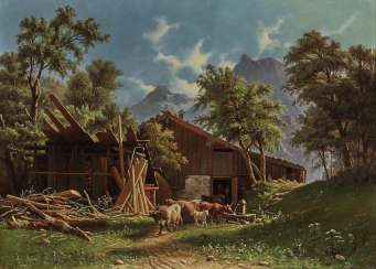 Knud Andreassen Baade - Cows in front of the stable in a mountain landscape