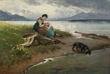 Peasant woman with child and Dachshund on the shore of lake Chiemsee