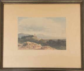 SIMÉON FORT, VIEW ON the PIEDMONT, watercolor on paper, behind glass, signed.