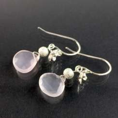 Beautiful earrings with rose quartz, silver 925, handcrafted.