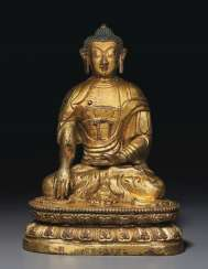 A GILT REPOUSSÉ BRONZE FIGURE OF BUDDHA
