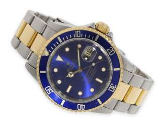 Watch: a vintage Rolex Submariner with a blue dial, Ref. 16613, steel/18K Gold, built in 1989