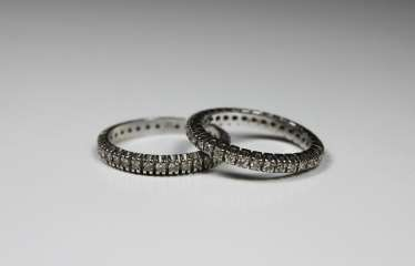 Two Eternity Diamond Rings, White Gold 585