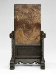 Duan stone with dragon and fish decoration as a table control screen mounted