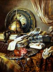 Still life with armor and books