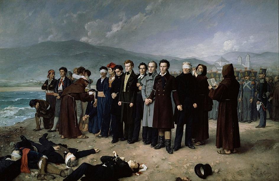Казни в живописи. Антонио Перес Гисберт. Расстрел Торрихоса и его соратников на пляже в Малаге