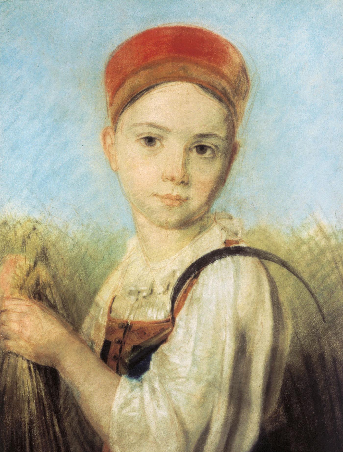 русская девушка в работах художников