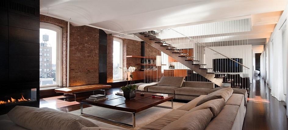 Лофт. Интерьер в стиле лофт, гостиная с тремя диванами