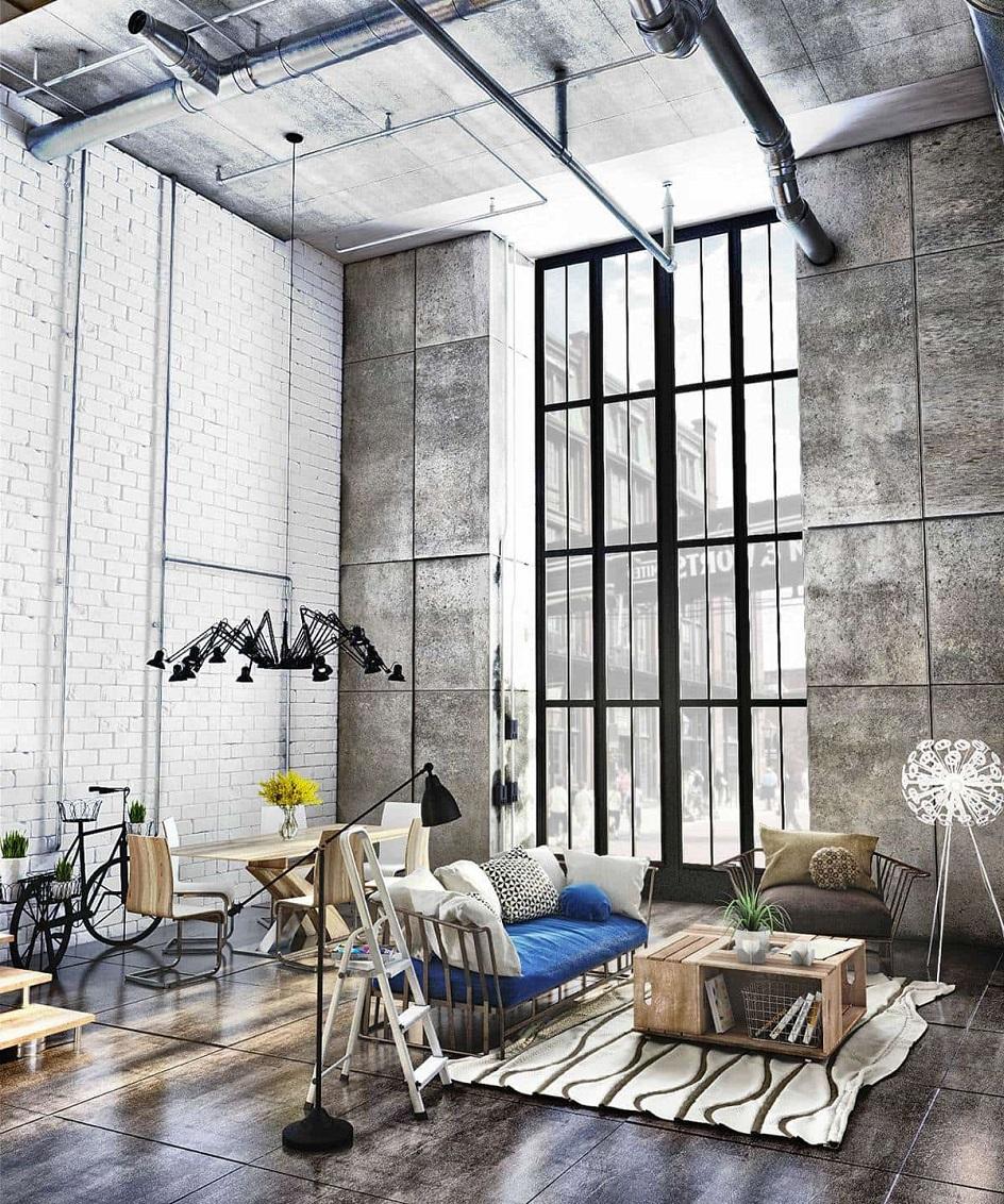Лофт. Интерьер в стиле лофт, гостиная с большим панорамным окном
