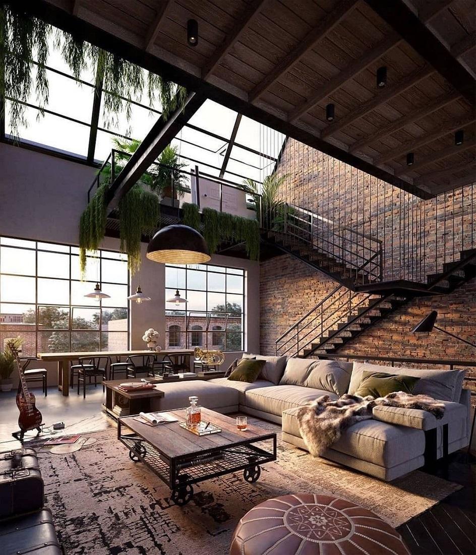 Лофт. Интерьер в стиле лофт, двухэтажная гостиная с ковром на полу