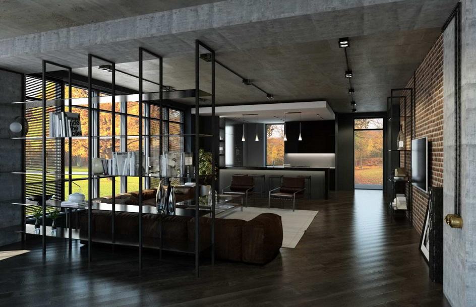 Лофт. Интерьер в стиле лофт с разделением пространства на две зоны