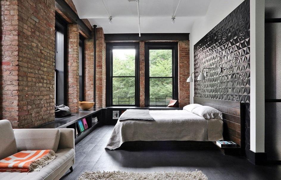 Лофт. Интерьер в стиле лофт, спальня с кроватью и диваном