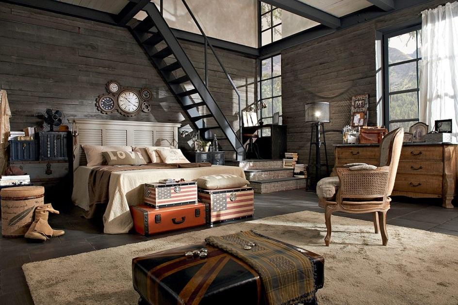 Лофт. Интерьер в стиле лофт, студия с кроватью и лестницей