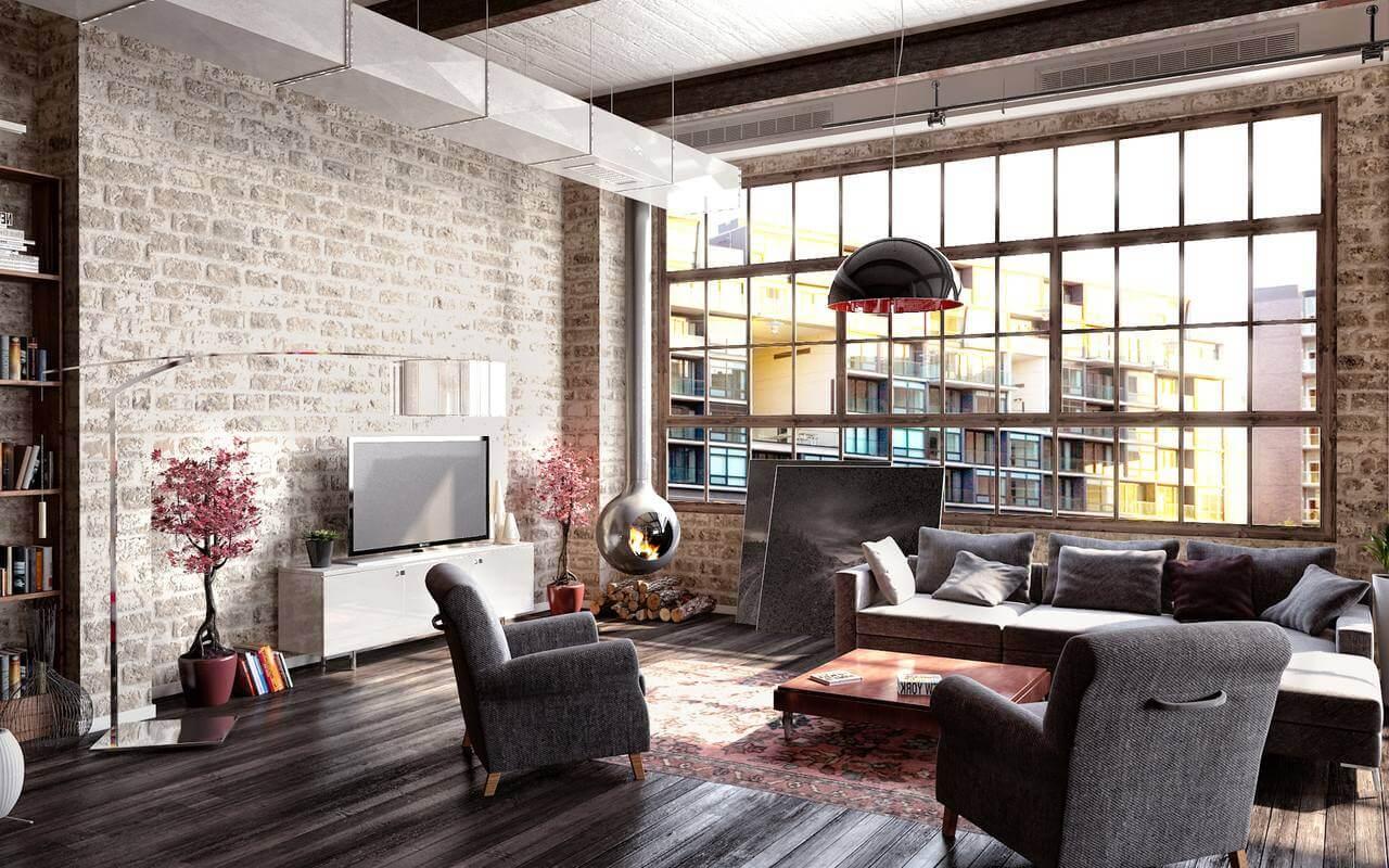 Лофт. Интерьер в стиле лофт, гостиная с декоративным камином в углу