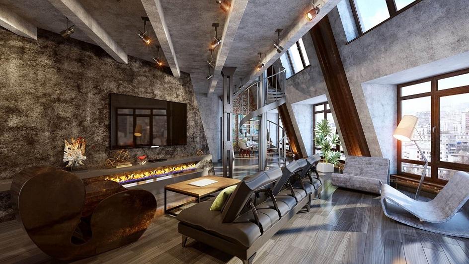 Лофт. Интерьер в стиле лофт, гостиная с винтовой лестницей и наклонными стенами