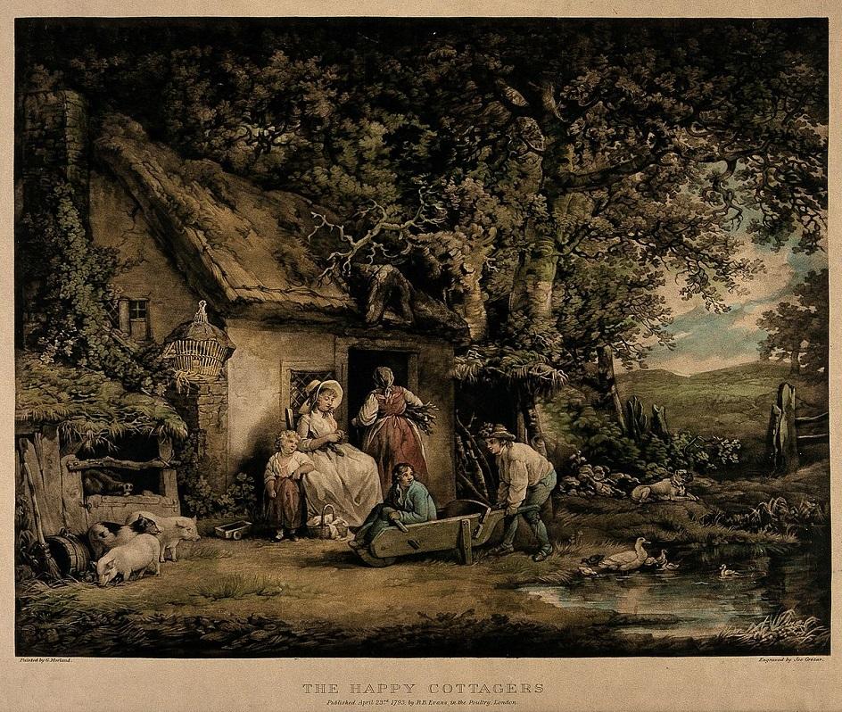 Меццо-тинто. Джо Грозар. Гравюра «Счастливые дачники», 1793