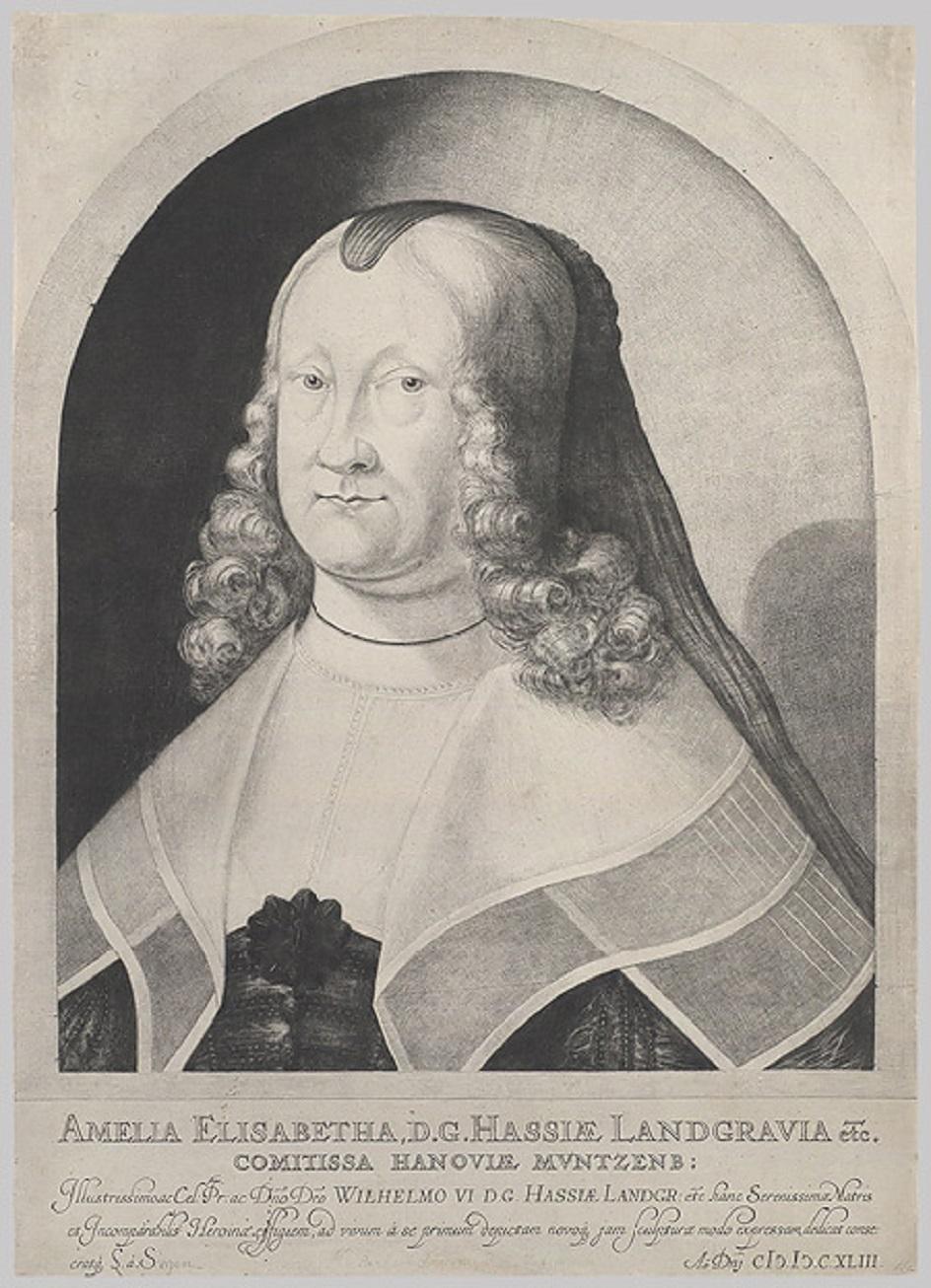 Меццо-тинто. Людвиг фон Зиген. Гравюра «Портрет Амелии Элизабет фон Гессен», 1642