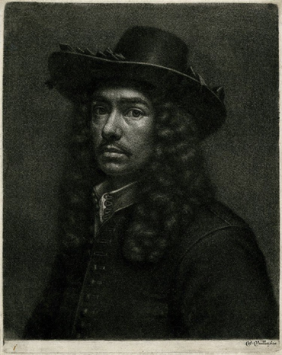 Меццо-тинто. Валлерант Вайлант. Гравюра «Автопортрет», 1675