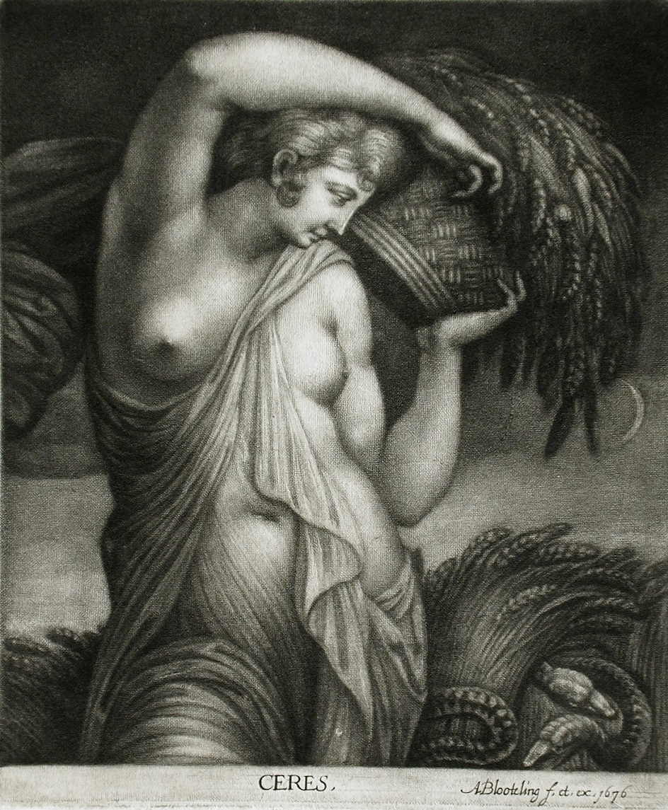 Меццо-тинто. Авраам Блотелинг. Гравюра «Церера», 1676
