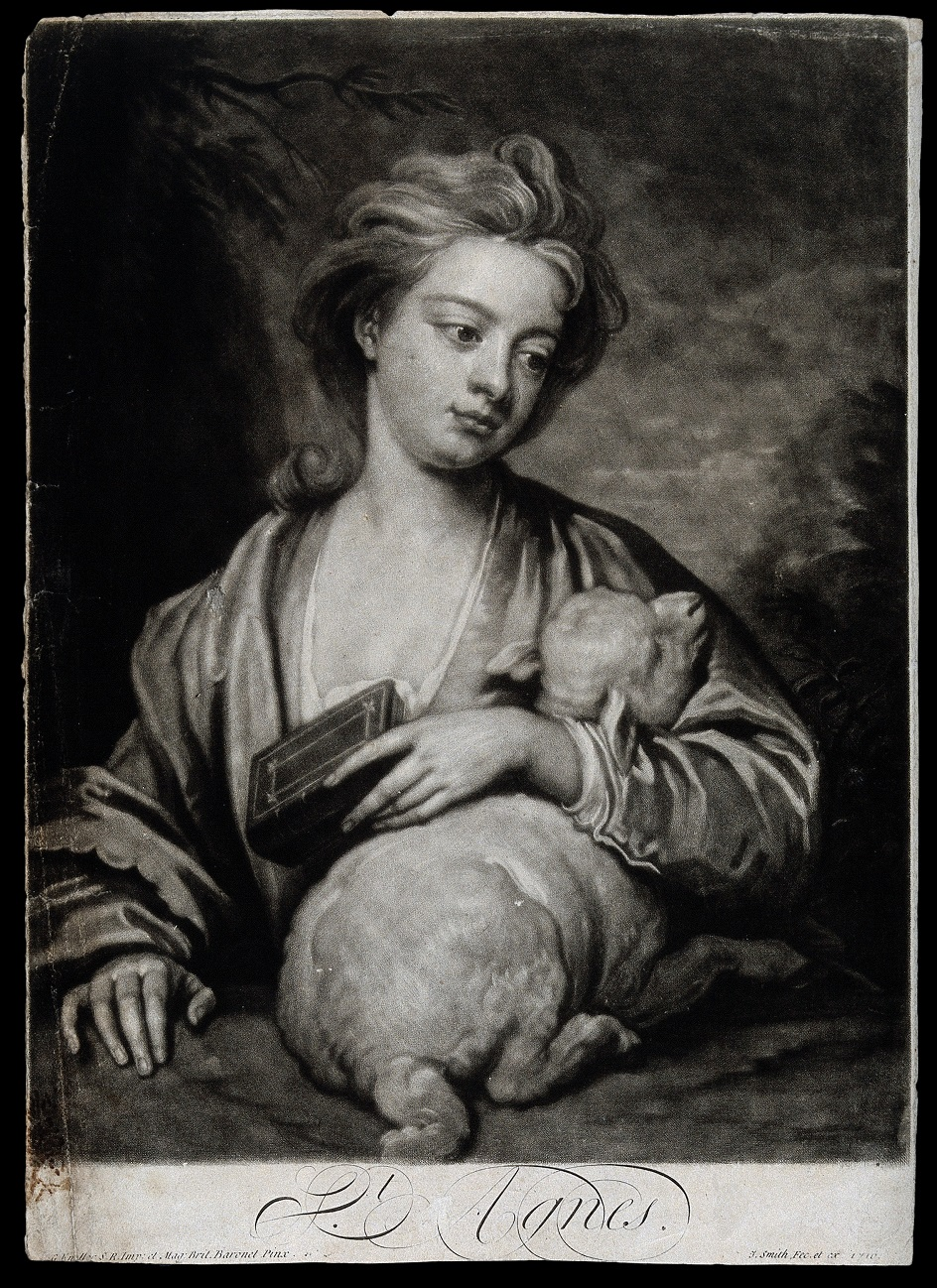 Меццо-тинто. Джон Смит. Гравюра «Святая Агнесса», 1715
