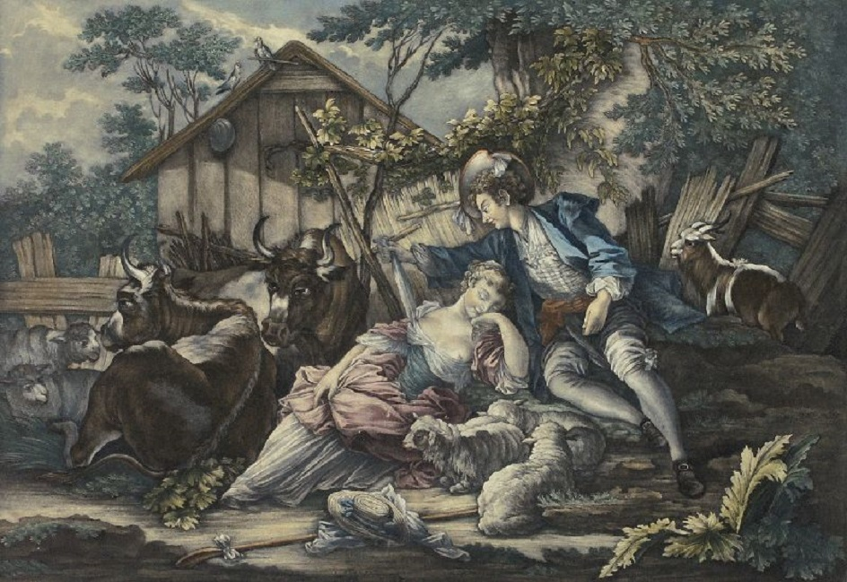 Меццо-тинто. Иоганн Элиас Ридингер. Гравюра «Опасный сон», 1715