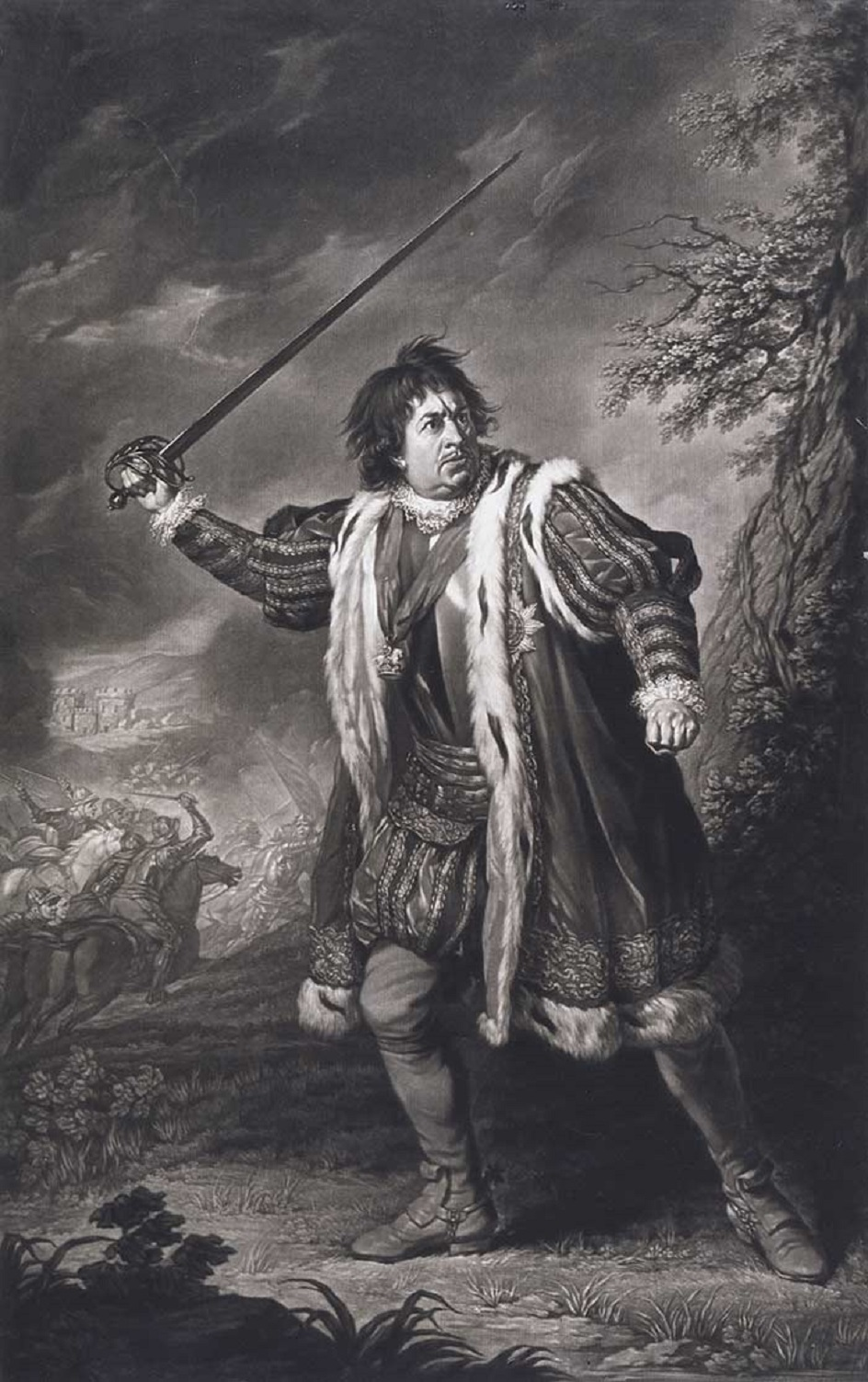Меццо-тинто. Джон Диксон. Гравюра «Дэвид Гаррик в роли Ричарда III», 1772