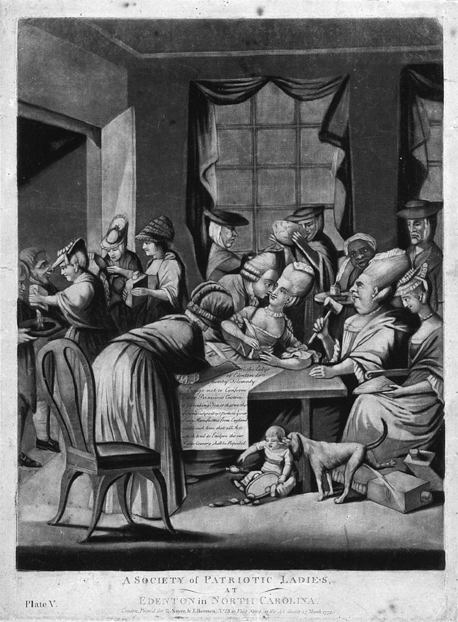 Меццо-тинто. Роберт Сэйер, Джон Беннетт. Гравюра «Общество патриотических леди», 1775