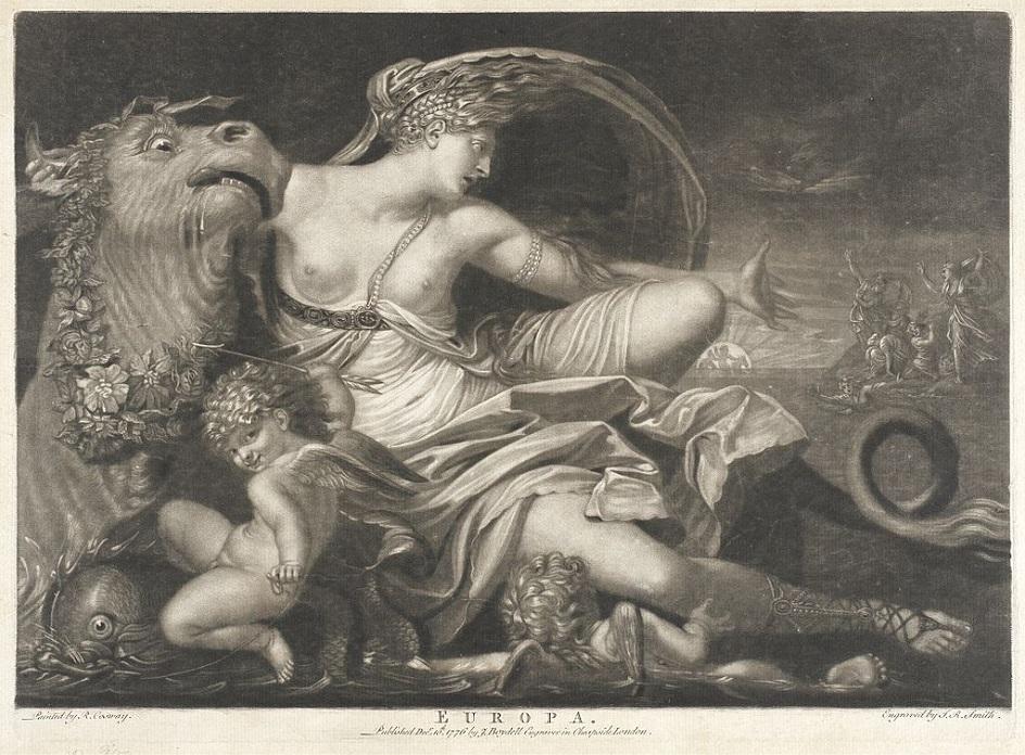 Меццо-тинто. Джон Рафаэль Смит. Гравюра «Европа», 1776