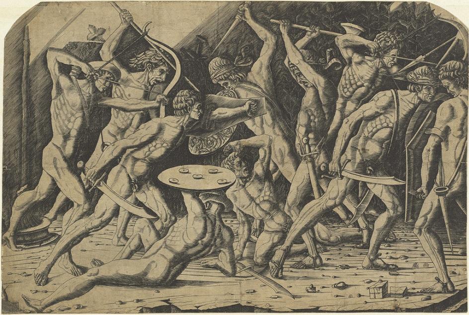 Гравюра. Резцовая гравюра на меди. Антонио дель Поллайоло. «Битва обнаженных мужчин»