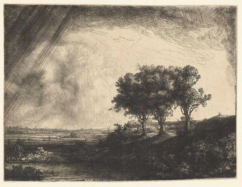 Гравюра. Офорт. Рембрандт Харменс ван Рейн. «Три дерева»