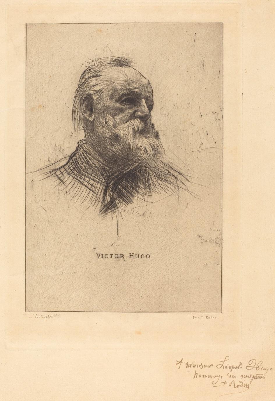 Гравюра. Сухая игла. Огюст Роден. «Портрет писателя Виктора Гюго»