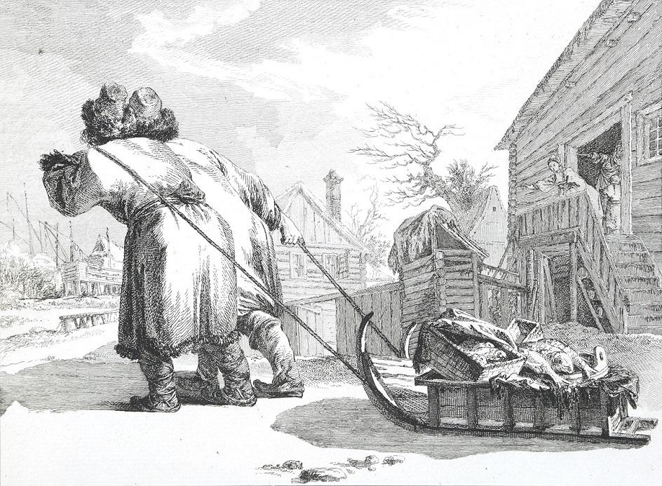Гравюра. Лавис. Жан-Батист Лепренс. «Русские торговцы рыбой»